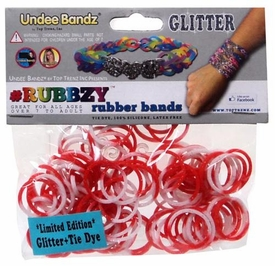 Undee Bandz Rubbzy 100 Red & White Glitter Tie-Dye Rubber Bands with Clips BLOWOUT SALE!
