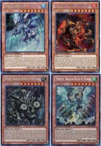 YuGiOh 2013 Holiday Tin Promo Set of All 4 Secret Rare Dragon Single Cards [CT10-EN001-CT10-EN004]