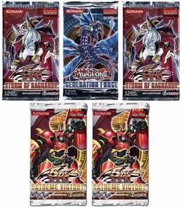 YuGiOh Lot of 5 Booster Packs [2 Storm of Ragnarok Packs, 2 Extreme Victory Packs & 1 Generation Force Pack] BLOWOUT SALE!