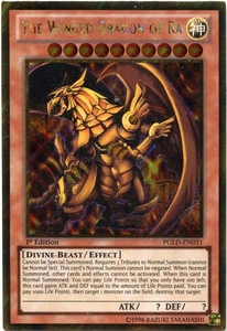 YuGiOh Premium Gold Single Card Gold Secret Rare PGLD-EN031 The Winged Dragon of Ra