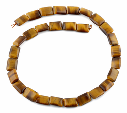 10x14MM Tiger Eye Puffy Rectangular Gemstone Beads
