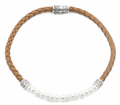 "16"" Sterling Silver w/ Tan Braided Leather and Pearl Necklace"