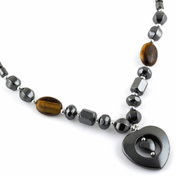 "18"" Double Heart Tiger Eye Stone Hematite Necklace"