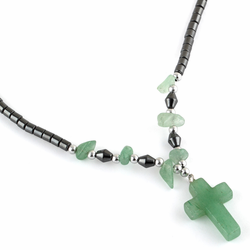 "18"" Green Aventurine Cross Stone Hematite Necklace"