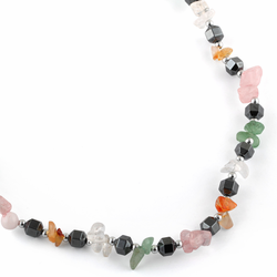 "18"" Multicolored Chips Stone Hematite Necklace"