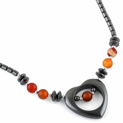 "18"" Open Heart Carnelian Stone Hematite Necklace"