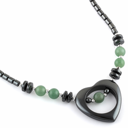 "18"" Open Heart Green Aventurine Stone Hematite Necklace"