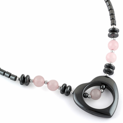 "18"" Open Heart Rose Quartz Stone Hematite Necklace"