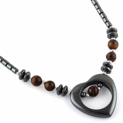 "18"" Open Heart Tiger Eye Stone Hematite Necklace"
