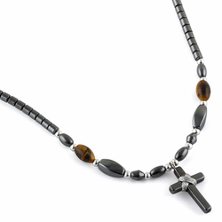 "18"" Small Cross w/ Tiger Eye Beads Hematite Necklace"