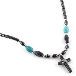 "18"" Small Cross w/ Turquoise Beads Hematite Necklace"