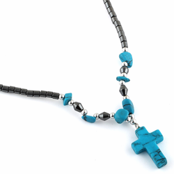 "18"" Synthetic Turquoise Cross Stone Hematite Necklace"