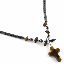 "18"" Tiger Eye Cross Stone Hematite Necklace"
