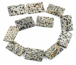 25x35MM Dalmation Jasper Puffy Rectangular Gemstone Beads