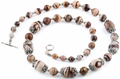 """26"""" Red Zebra Jasper Necklace With Sterling Silver Clasp and Spacers"""