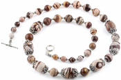 "26"" Red Zebra Jasper Necklace With Sterling Silver Clasp and Spacers"