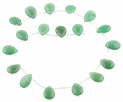 30x22MM Green Aventurine Flat Drop Gemstone Beads