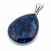 30x40MM Pear Blue Denim Lapis Jasper Gemstone Pendant
