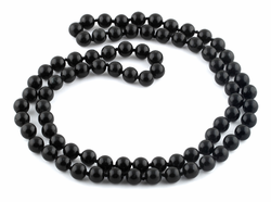 "32"" 8mm Black Jasper Round Gemstone Bead Necklace"