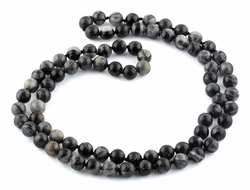 "32"" 8mm Black Picasso Jasper Round Gemstone Bead Necklace"