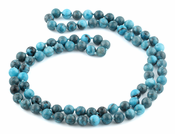 "32"" 8mm Blue Amazonite Jasper Round Gemstone Bead Necklace"
