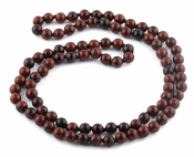 "32"" 8mm Mahogany Obsidian Round Gemstone Bead Necklace"