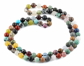 "32"" 8mm Multi-Stones Round Gemstone Bead Necklace"