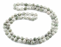 "32"" 8mm Peace Stone Round Gemstone Bead Necklace"
