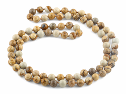 "32"" 8mm Picture Jasper Round Gemstone Bead Necklace"