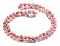 "32"" 8mm Pink Matrix Round Gemstone Bead Necklace"