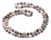 "32"" 8mm Pink Zebra Jasper Round Gemstone Bead Necklace"