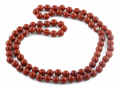 "32"" 8mm Red Jasper Round Gemstone Bead Necklace"