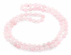 "32"" 8mm Round Rose Quartz Round Gemstone Bead Necklace"