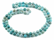 "32"" 8mm Turquoise Jasper Round Gemstone Bead Necklace"