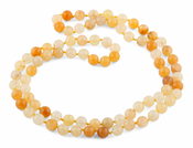 "32"" 8mm Yellow Serpentine Round Gemstone Bead Necklace"