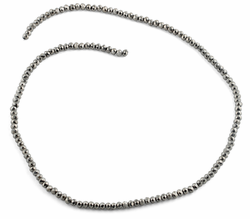 3mm Silver Faceted Rondelle Glass Beads