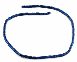 3X6mm Dark Blue Rectangle Faceted Crystal Beads