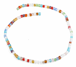 4x4mm Rainbow Square Faceted Crystal Beads