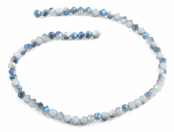 6mm Blue and Grey Twist Faceted Crystal Beads