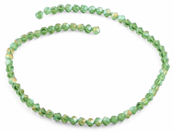6mm Green Twist Faceted Crystal Beads