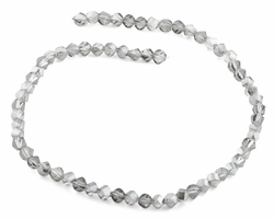 6mm Grey Twist Faceted Crystal Beads