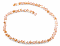 6mm Peach Twist Faceted Crystal Beads