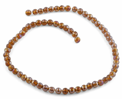 6mm Yellow Brown Round Faceted Crystal Beads