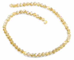 6mm Yellow Twist Faceted Crystal Beads