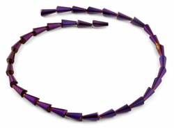 6x12mm Purple Cone Faceted Crystal Beads