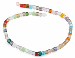 6X6mm Rainbow Square Faceted Crystal Beads
