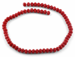 8mm Dark Red Faceted Rondelle Glass Beads