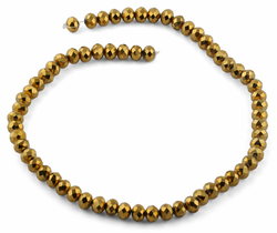 8mm Gold Faceted Rondelle Crystal Beads