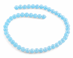 8mm Light Blue Faceted Round Crystal Beads