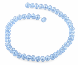 8mm Light Blue Rondelle Faceted Crystal Beads